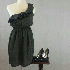 One Shoulder Black & White I LOVE H81 Dress Medium